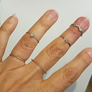 Jewelry - Dainty 5pc Knuckle Rings Band Midi Finger